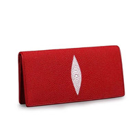 Classical Design Genuine Stingray Skin Leather Women Red Thin Clutch Purse Long Style Card Holder Wallet Lady Zipper Coin Pocket