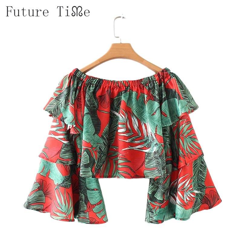 Будущее время дамы блузка с вырезом лодочкой с цветочным принтом оборками блузки Для женщин с длинным рукавом женский Костюмы Flare рукавом Б...