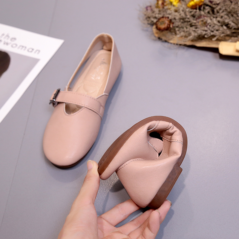 2018 new women leather shoes woman single shoes shallow round tow spring autumn ballet flats shoes women casual shoes Flats Woman 2018 Spring Autumn New Leather Shoes Flat Shallow Women Shoes Loafers Fashion Buckle Casual Women's Shoes