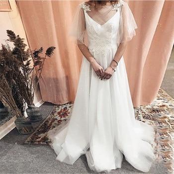 A-line Boho Wedding Dresses Short Sleeves Lace Beach Bridal Gowns Tulle Skirt Backless Sweep Tain White Ivory Vestidos De Noiva