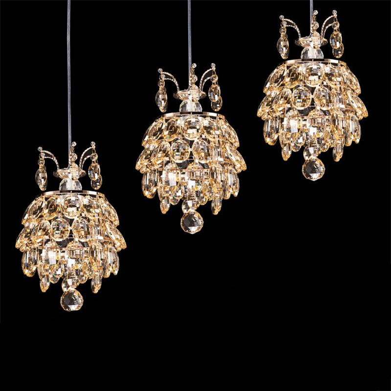 100% Quality Modern Luxurious K9 Crystal Led 7w*1/3 Heads Pendant Light for Dining Room Living Room Droplights 1369 modern fashion luxurious rectangle k9 crystal led e14 e12 6 heads pendant light for living room dining room bar deco 2239
