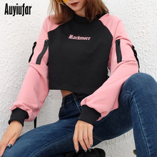 Auyiufar Casual Patchwork Letter Womens Short Sweatshirts Long Sleeve With Zippers Female Clothes Autumn 2019 New