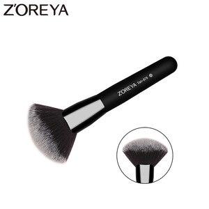 Черные кисти для макияжа ZOREYA, классические удобные кисти для макияжа из густого волокна с деревянной ручкой
