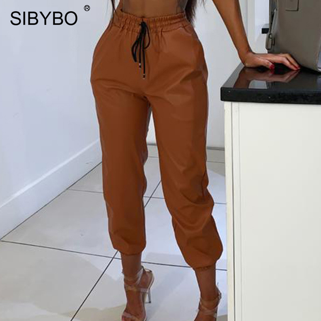 SIBYBO High Waist PU Leather Casual Pants Women Fashion Drawstring Pockets Pencil Pants Solid Streetwear Autumn Women Trousers