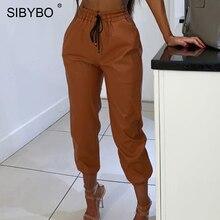 SIBYBO عالية الخصر بولي Leather الجلود سراويل تقليدية النساء موضة الرسوم الزاهية جيوب سروال شكل قلم رصاص الصلبة الشارع الشهير الخريف النساء بنطلون