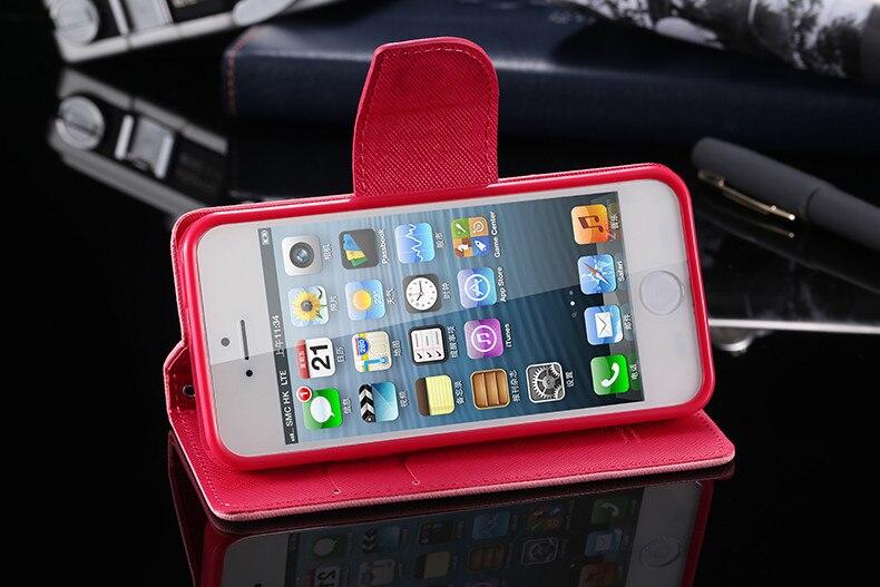 Podwójny kolor klapki skóra telefon torba case dla iphone 6 7 6 s plus 5 5S se gniazda kart + stojak kabura pokrowiec case dla iphone 7 6 6 s 26