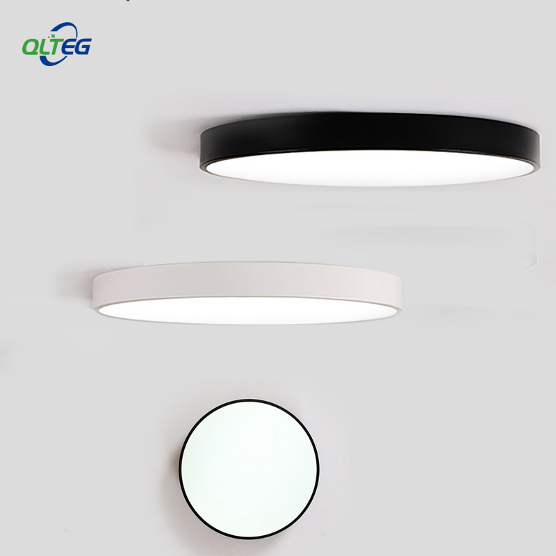QLTEG LED Modern Acryl Alloy Round 5cm Super Thin LED Ceiling Light Surface Lamp Living Room Lighting Fixture For Foyer Bedroom modern ceiling lamp contemporary acryl creative lighting simple design white black luminaire ac for living room hall foyer light