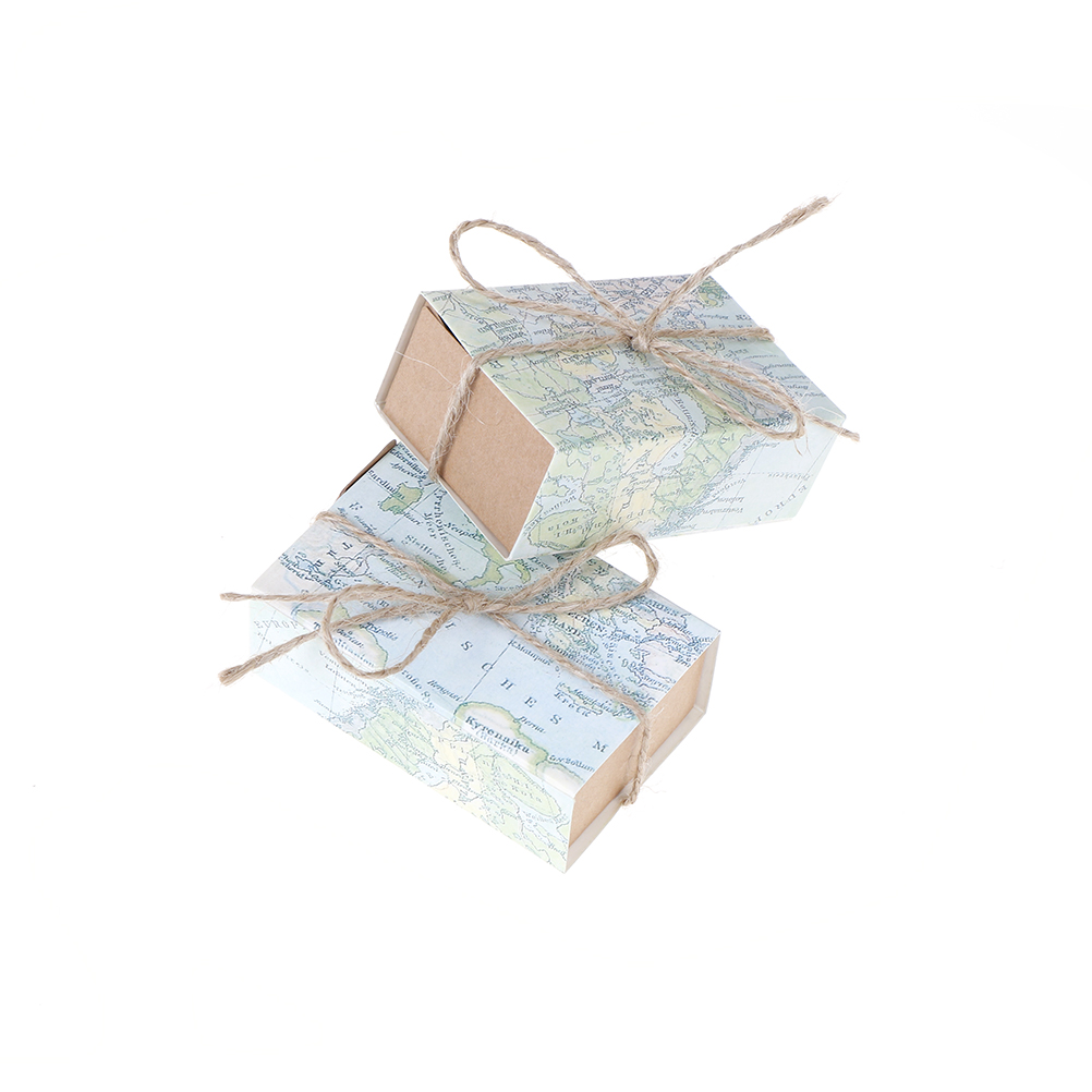 World Map Party Supplies.50pcs Wedding Party Favors Box Candy Gift Box With World Map Theme