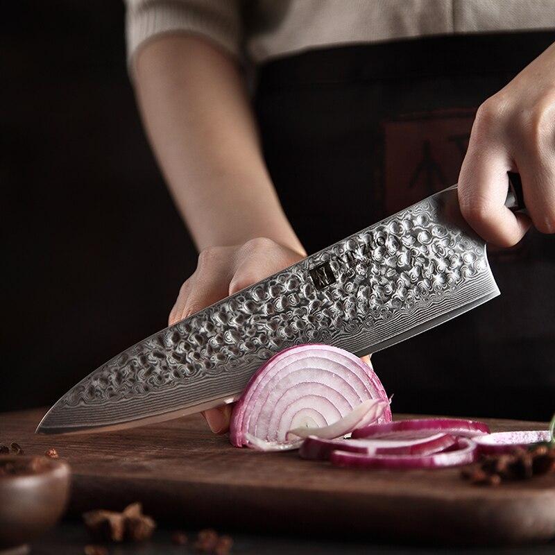 """XINZUO 8.5 """"سكين الطاهي 62 Hrc عالية الكربون VG10 دمشق الصلب اكسسوارات المطبخ Gyotou سكين أفضل هدية السكاكين الأبنوس مقبض-في سكاكين مطبخ من المنزل والحديقة على  مجموعة 2"""