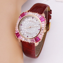 高級母の真珠ラインストーンの女性のレディース腕時計日本石英営業時間ファッションリアルレザークリスタル誕生日ギフトメリッサボックス