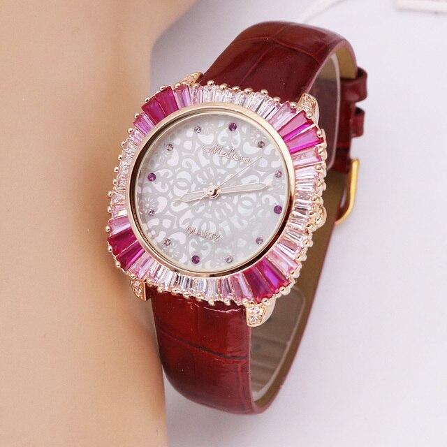 Роскошные женские часы с перламутровыми стразами, японские кварцевые часы, модные часы с кристаллами из натуральной кожи, подарок на день рождения, коробка Melissa
