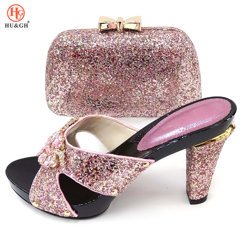 2019 różowy kolor nigerii buty i torby zestaw kobiety włoskie Party buty i torba afryki buty z pasującymi torby na wesele w Buty damskie na słupku od Buty na  Grupa 1