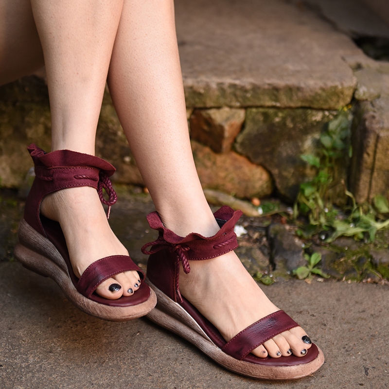 Artmu Gladiator Sandals Women Shoes Open Toe Wedges SGenuine Leather Bow Sandals Women Wedges Sandias de
