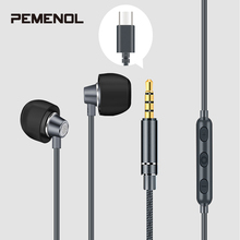 Mini 3.5mm Wire Headset With Mic HD Stereo Headphones 3.5mm/Type-C In-Ear Wired Control Noise Reduction Earphone For Xiaomi Mi9