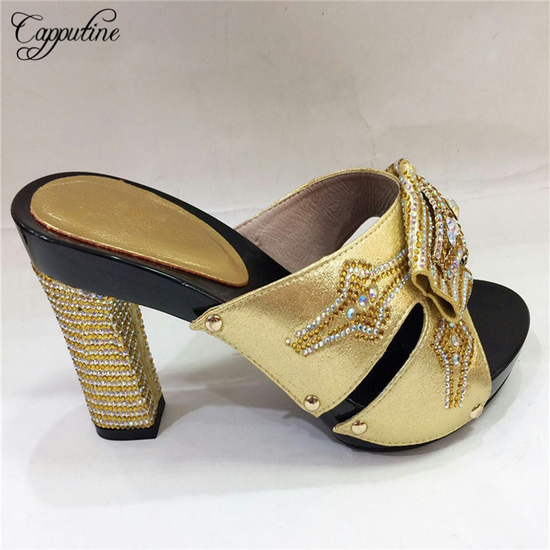 Capputine High Quality Italian Rhinestone Woman Shoes African With Rhinestone High Heels Woman For Wedding Free Shipping TX222-6 doershow african shoes and bags fashion italian matching shoes and bag set nigerian high heels for wedding dress puw1 19
