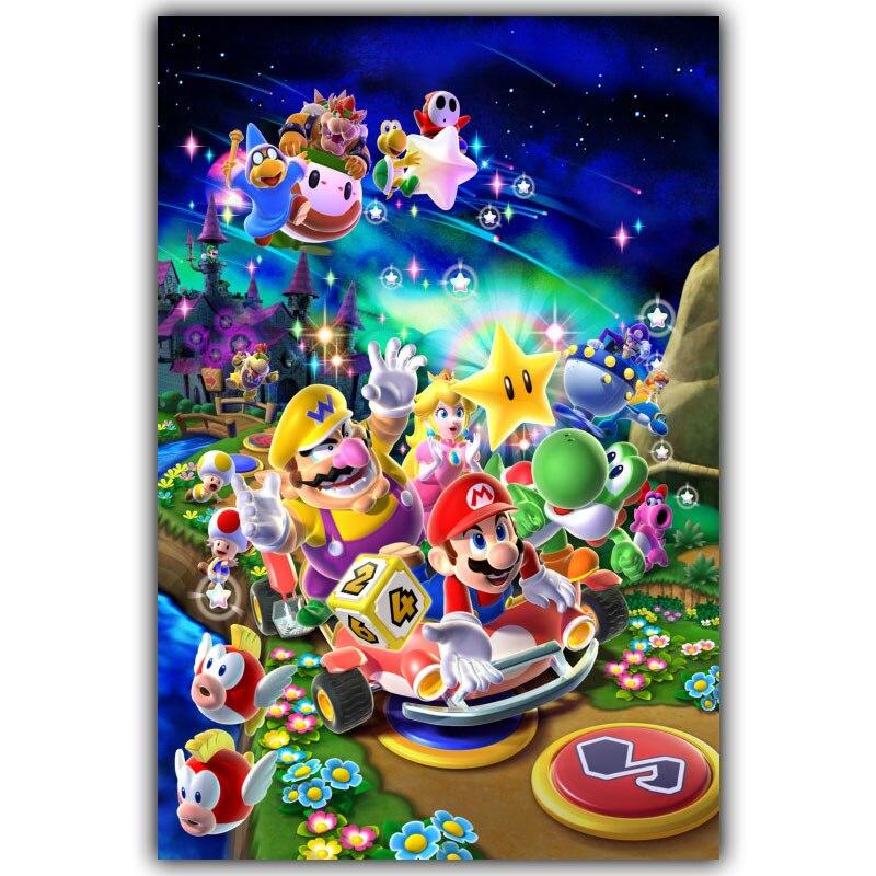 Super Mario Bros Game Hot Artistic Silk Fabric Poster