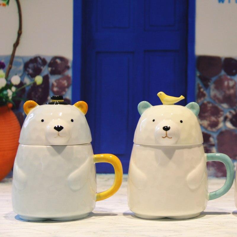 Creative Personality Bear Mug Cartoon Lovers Coffee Mug Ceramic Mug Milk Mug with Lid Office