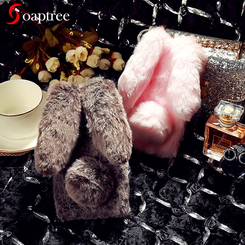Luxury Cute Furry Rabbit Fur Cases For Doogee X70 X60L X9 Y6 Y6C X5 X30 X20 X5S X30L Max Pro Mix Lite Shoot 2 Y8C Case image
