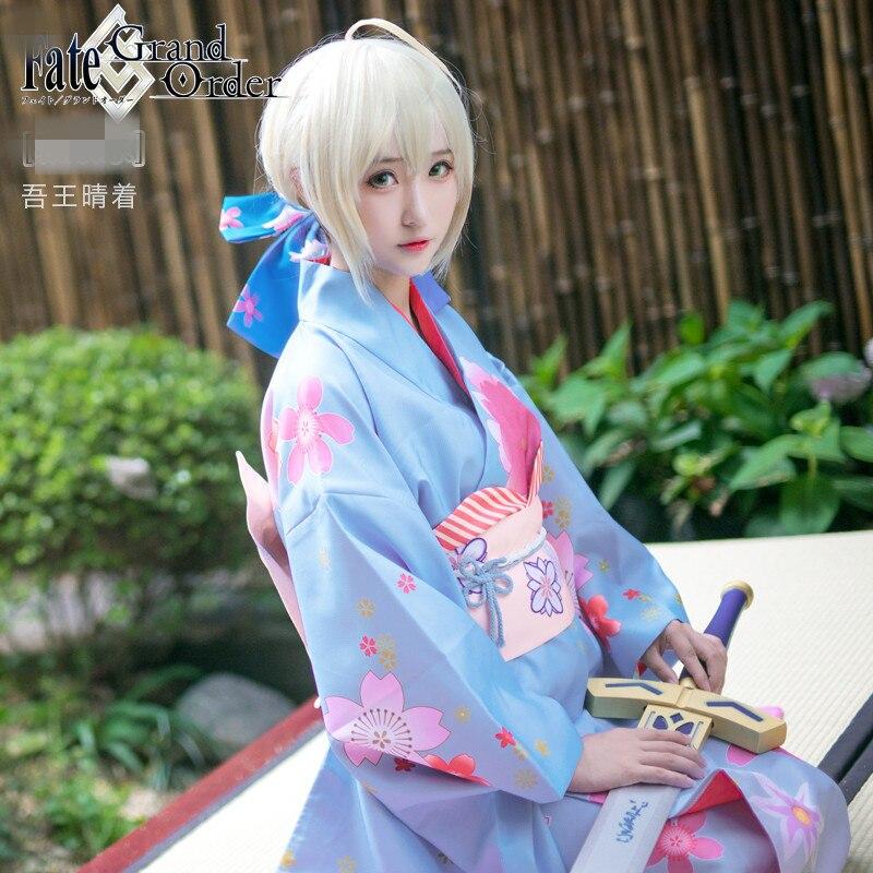Аниме Fate Go Fate Grand заказ прекрасный косплей печатных кимоно костюм для косплея C