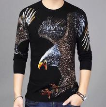 BONJEAN  Autumn Fashion Mens Pullover Sweaters  Long Sleeve Round Neck Big Eagle Print Cotton Knitted Thin Sweater Shirt