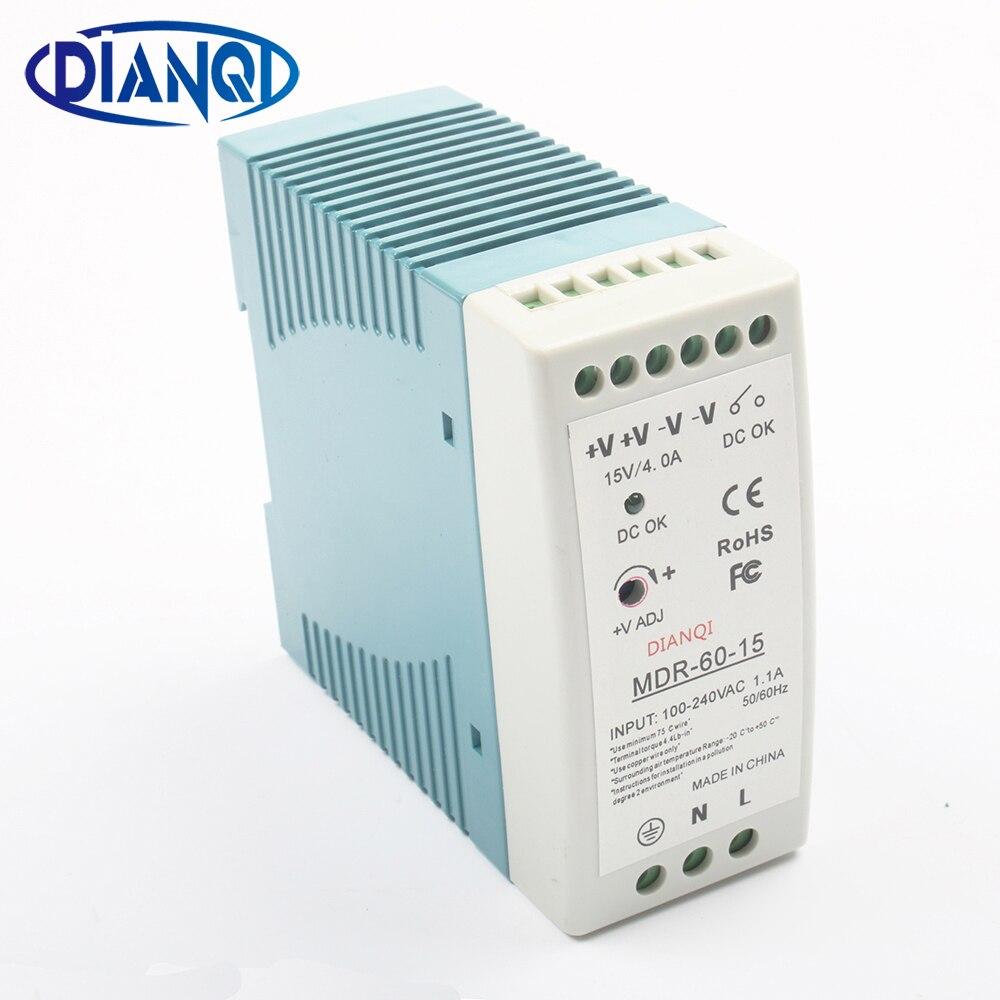 DIANQI MDR-60 12 V 5 V 15 V 24 V 36 V 48 V 60 W Din Rail di alimentazione ac-dc driver regolatore di tensione potenza suply 110 V 220 V