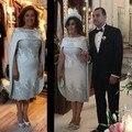 Rainha elegante Crafted Royal Wedding Na Altura Do Joelho Mãe Do Vestido Da Noiva Vestidos de Madrinha Appealues Com Belo Poncho