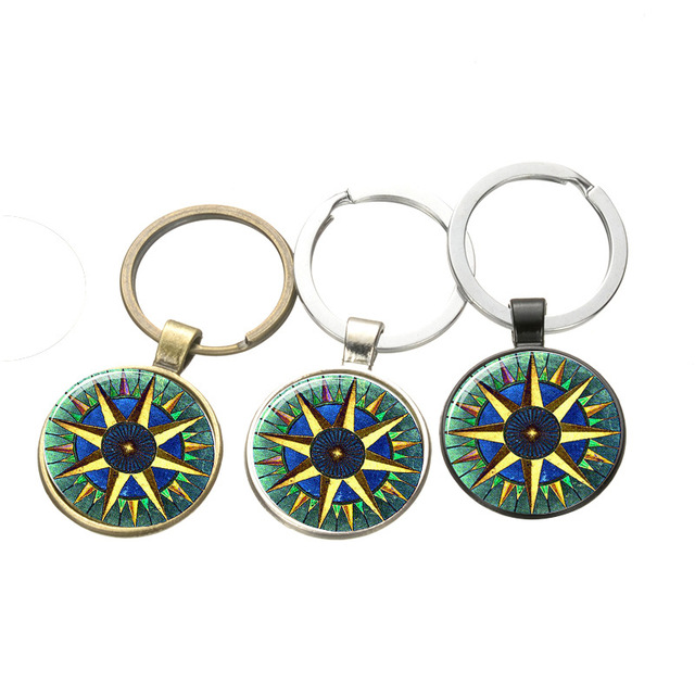 Vintage Compass Time Pendant Key Chain Fashionable Glass Keychain Gifts For Men And Women