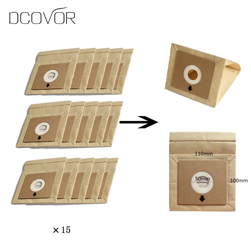 15Pcs Vacuum Cleaner Dust Paper Bags 100*110mm Diameter 50mm Accessories Parts(China)