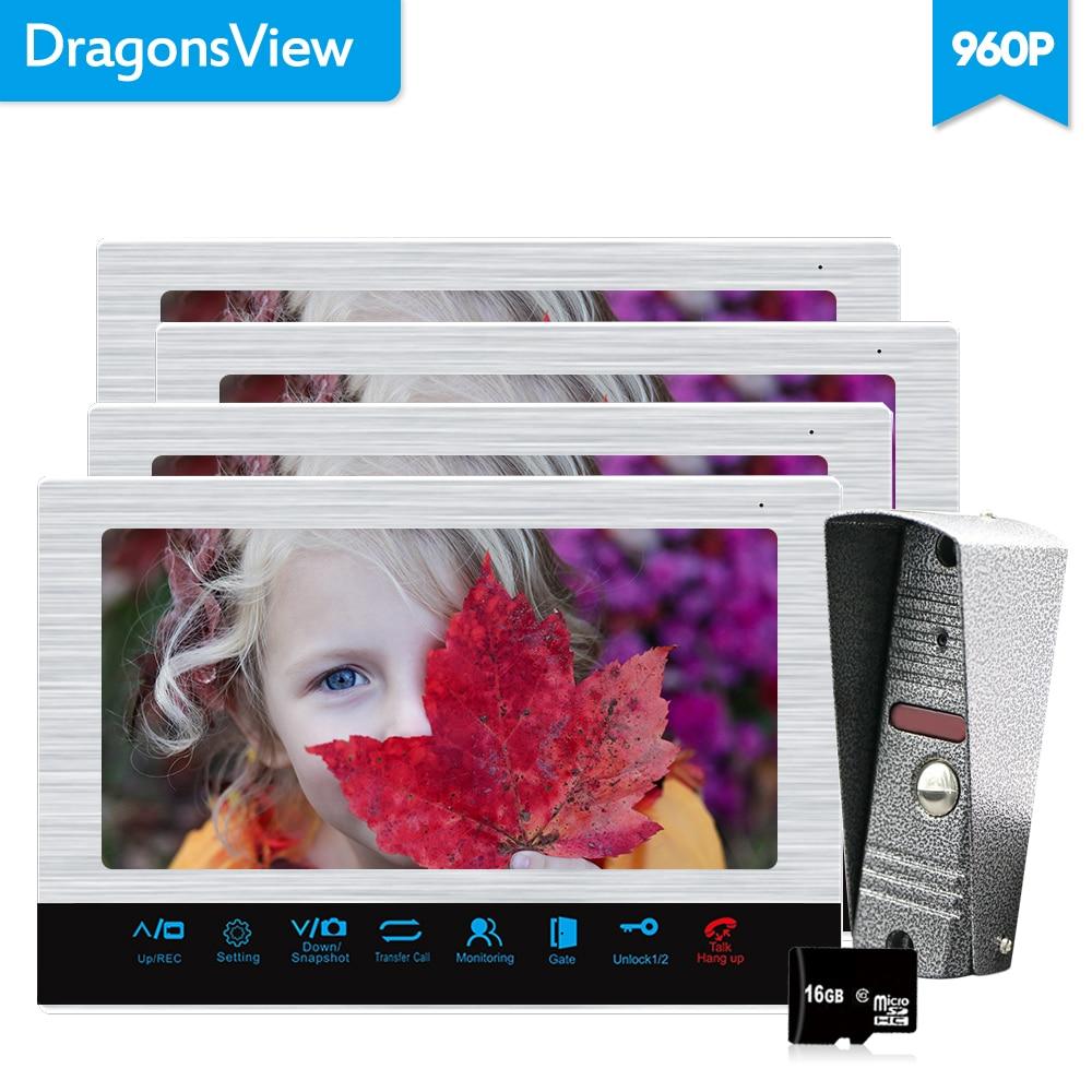Dragonsview 10 960P Video Doorbell Monitor Video Intercom System 4 Monitors 1 Doorbell Camera Alarm sensor Recording Motion