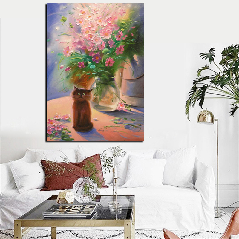 Big Size Print Modern Floral Flower Vase Abstract Oil Painting On Canvas Art Wall Picture For Living Room Cuadros Decor
