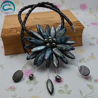 Unique Pearls jewellery Store Perfect Black Real Pearl Shell Flower Leather Necklace Wedding Birthday Chirstmas Gift For Women