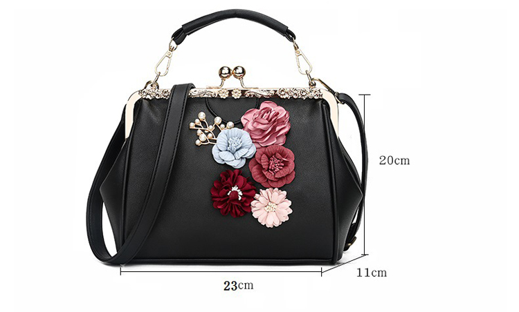 Classical Kiss Lock Framed Clutch with Chain Starp Womens Shoulder Bag Purse Wallet (4)