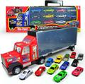 Container truck model,toy car trailer,Large storage box truck with 12 alloy slide car collection,free shipping