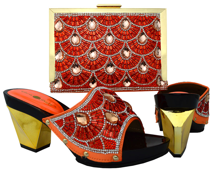 ФОТО Nigeria Fashion Ladies Shoes And Evening Bag Set Italy Style High Heel Shoes And Bags Set For Party Free Shipping Orange BCH-17
