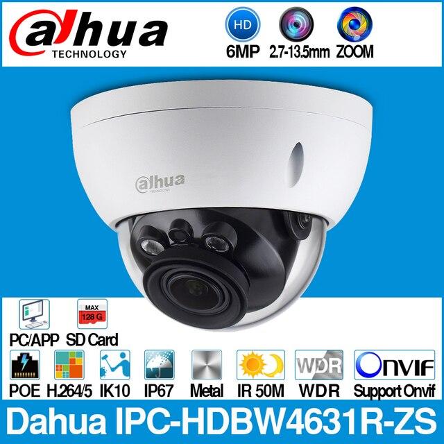 Dahua IPC HDBW4631R ZS 6MP IP מצלמה CCTV POE ממונע 2.7 ~ 13.5mm פוקוס זום H.265 50M IR MSX SD כרטיס חריץ רשת מצלמה IK10