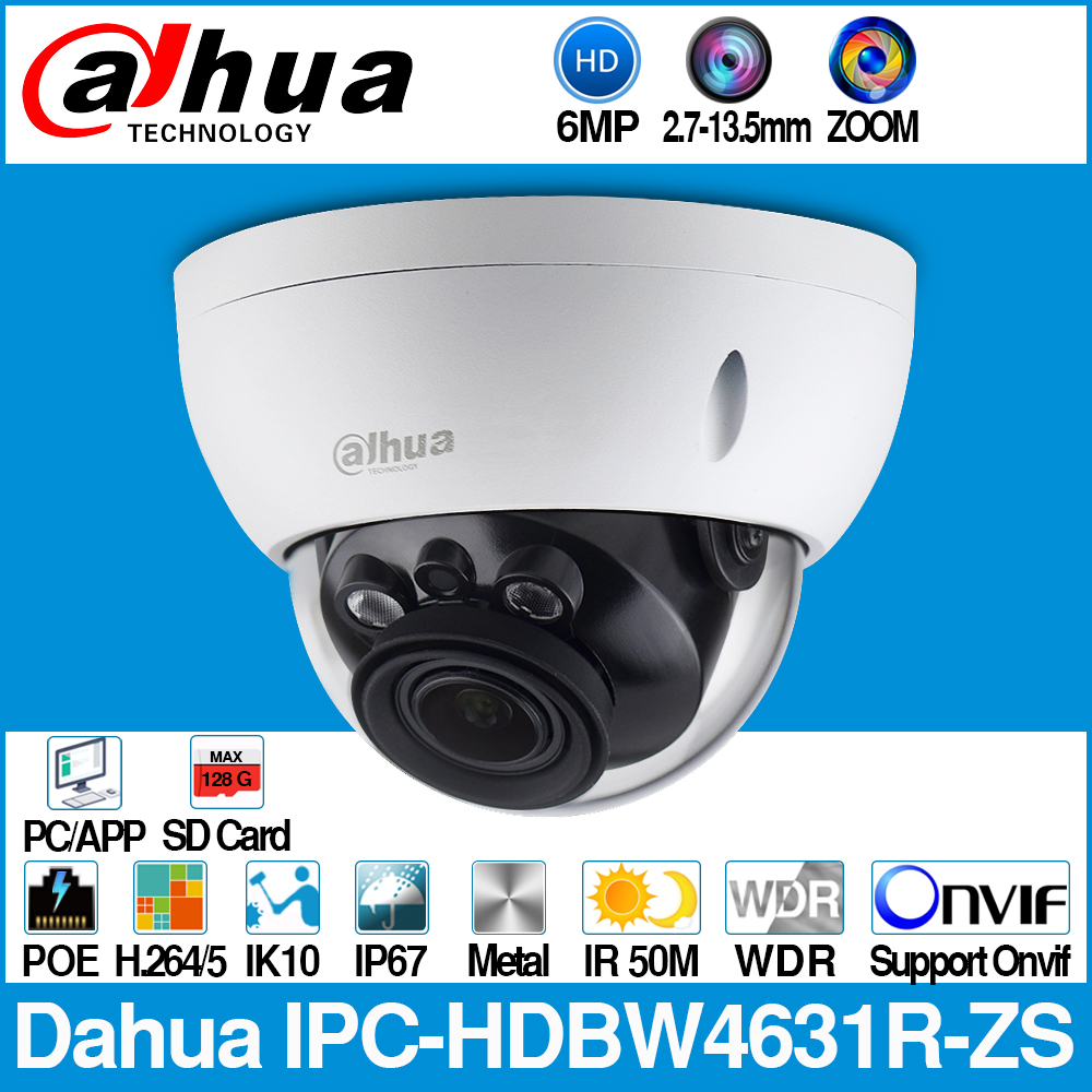 Dahua IPC-HDBW4631R-ZS 6MP IP Camera CCTV POE Motorized 2.7~13.5mm Focus Zoom H.265 50M IR MSX SD Card Slot Network Camera IK10