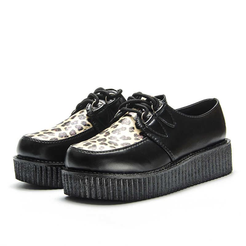 Fujin/сезон весна; леопардовая кожа; цвет черный; сезон осень; однотонная повседневная женская обувь на плоской платформе со шнуровкой; женская обувь с круглым носком