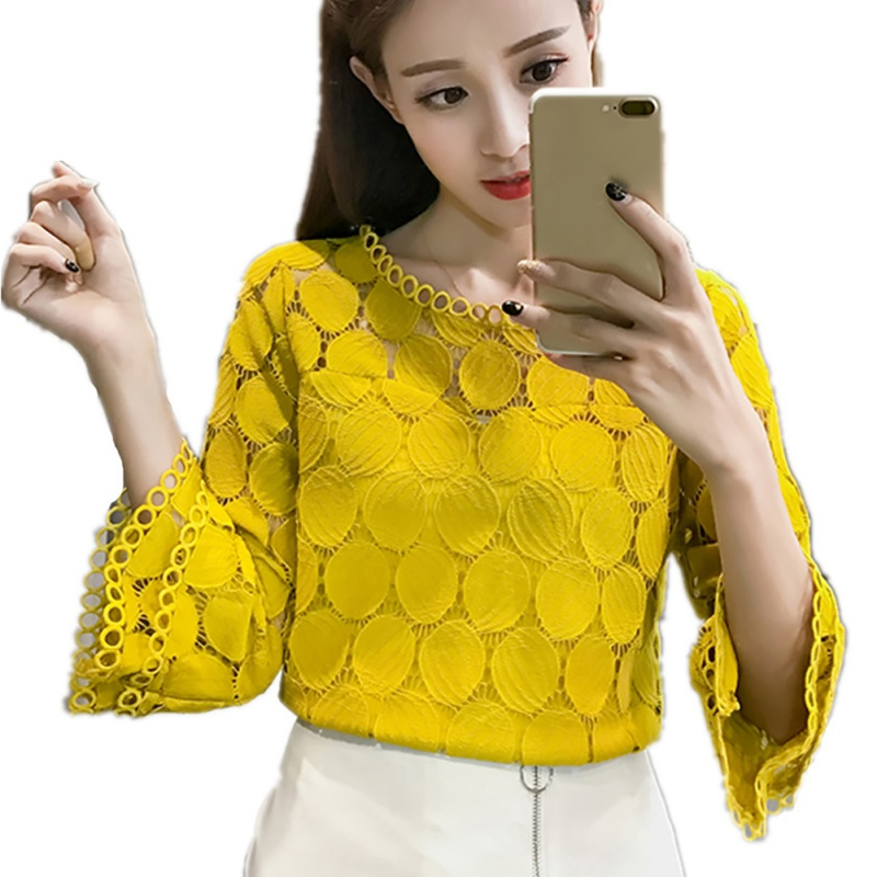 New Fashion Summer Korean Women Hollow Out Lace   Blouses     Shirts   New Clothing Flare Sleeves O-Neck Slim Female Apricot White Tops