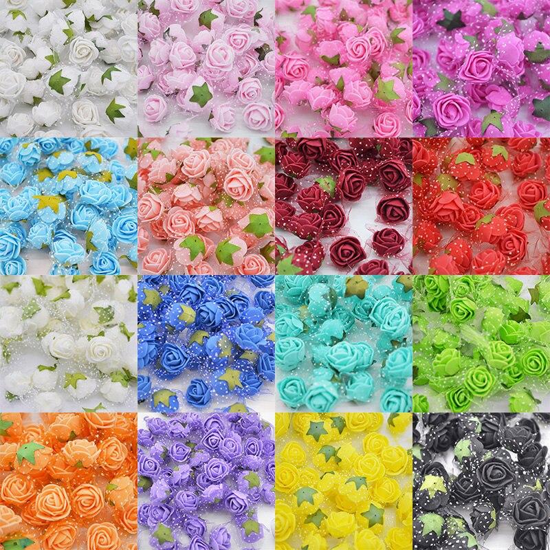 50 шт./лот миниатюрная роза из пеноматериала искусственный цветок головы для домашнего Свадебный декор DIY помпоном венок Декоративный букет невесты поддельные цветок