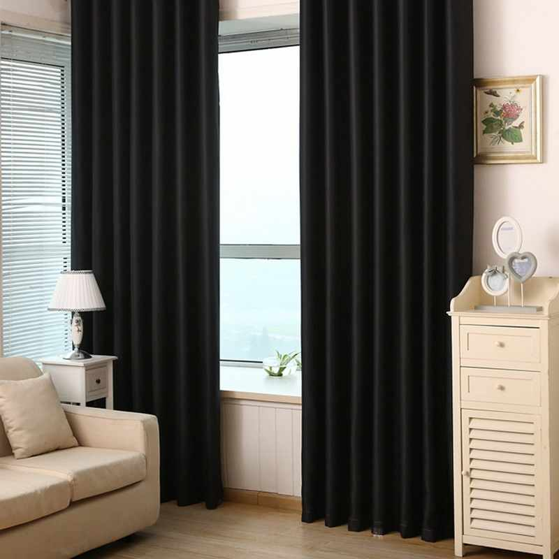 Modern Solid Black Blackout Curtains Window Blinds Door Solid Finished Treatment Drapes Curtain for Living Room Bedroom Curtains