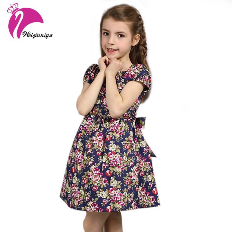 Summer Girls Dress New 2017 European Style Fashion Baby Girls Print Flowers Floral Dresses Cotton Vestido Infantil Kids Clothes new summer baby girls floral dress with cap european style designer bow children dresses kids clothes 3 8y