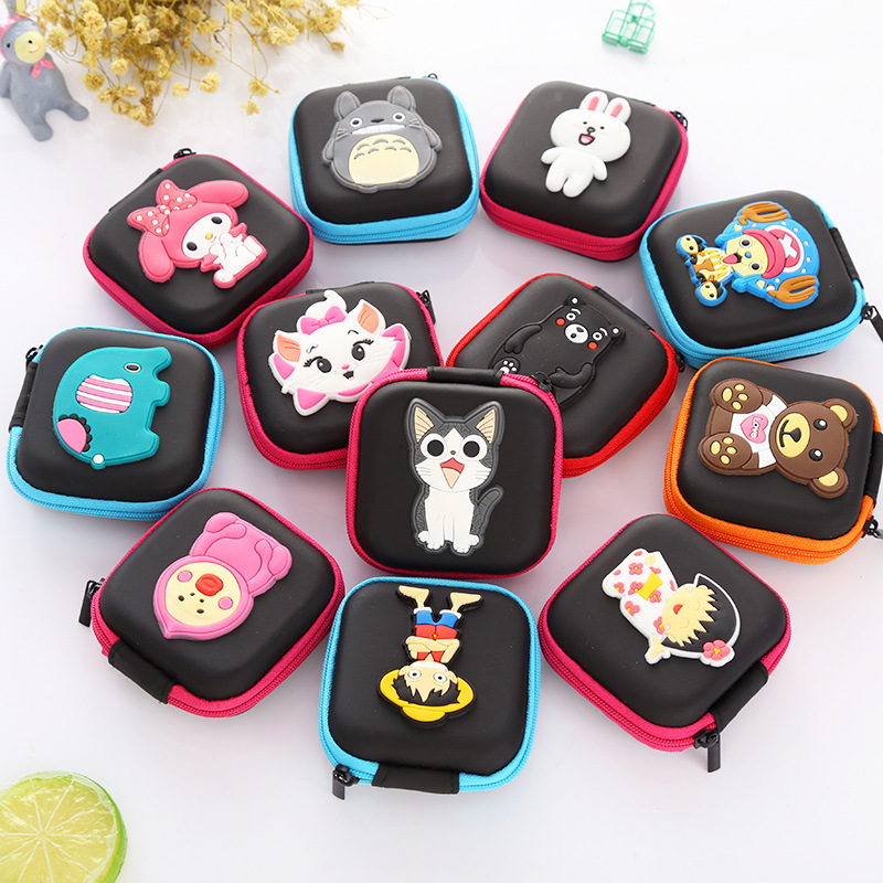 Cartoon Earphone Packing Silicone Purse Men Woman Coin Key Holder Waterproof Earphone Zipper Bag Lovely Coin Key Collection Bags mini silicone coin purse kawaii cartoon coin key earphone holder bags eva organizer bag lovely kids gift wallets