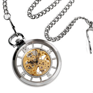 Image 5 - New Arrival Silver Open Face Dial Skeleton Pocket Watch Mechanical Hand Wind Fob Clock  Necklace Accessory Relogio De Bolso