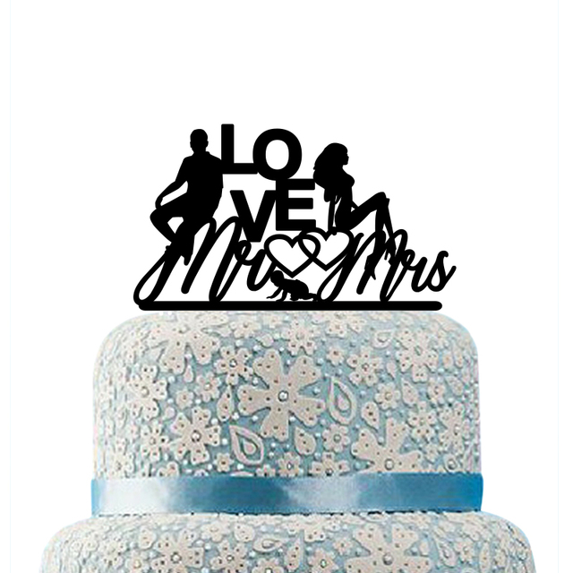 Acrylic Family Mr Mrs Wedding Cake Topper Anniversary Love With A Boy Bride And