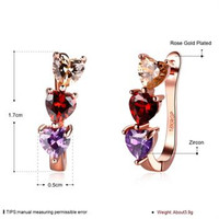 2017 New Fashion Accessories Rose Color Crystal Three Color Zircon Stud Earrings For Women Party Jewelry Ed043