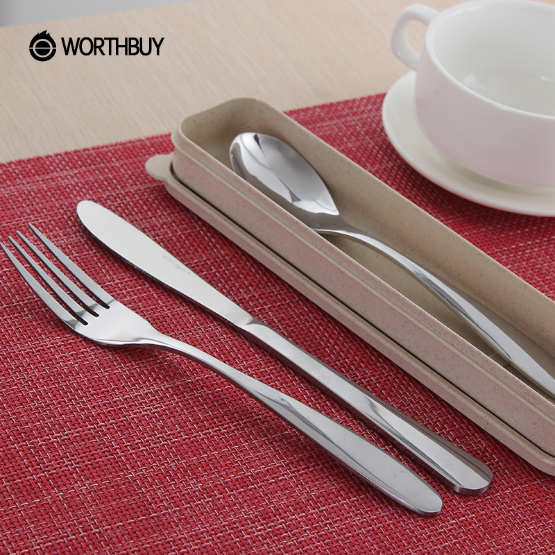 WORTHBUY Portable Picnic Camping Dinnerware Set Sliver Stainless Steel Travel Cutlery Set Restaurant Kitchen Accessories Tools