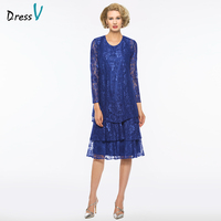 Dressv Blue Scoop Neck Sheath Long Sleeves Mother Of Bride Dress With Jacket Lace Zipper Up