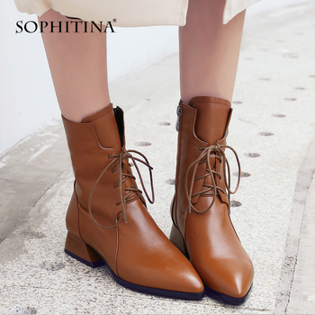 SOPHITINA Sexy Pointed Toe Boots High Quality Cow Leather Fashion Solid Cross-tied Ankle Shoes Woman Special Design Boots MO250