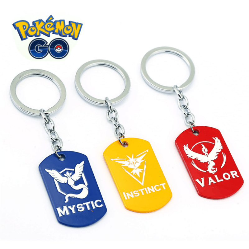 ORP Anime game theme products Pokemon Go Keychain Three camp signs logo hot selling new keychain pendant accessories wholesale