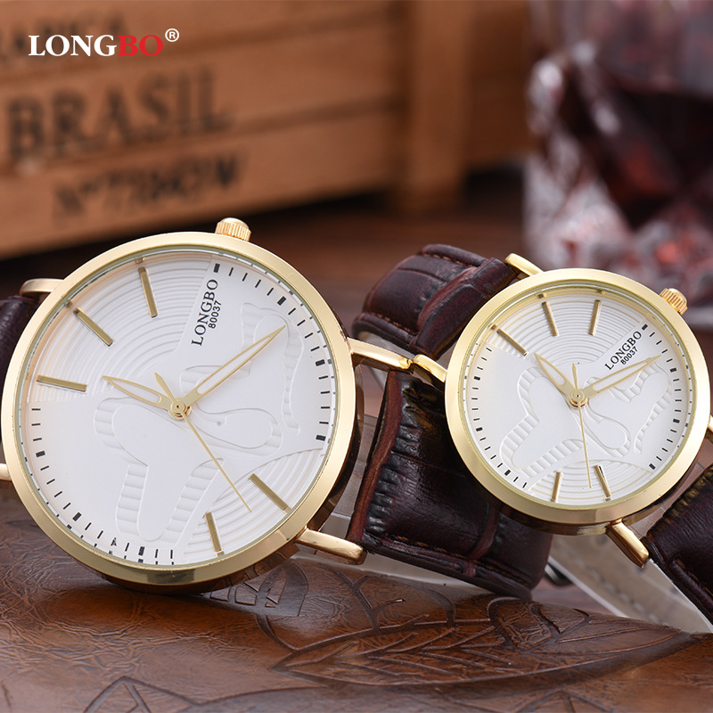 LONGBO Fashion Korean Ladies Watch Luminous Brand Stereo Printing Mens Woman Top Quality Leather Waterproof Couple Watches 80037